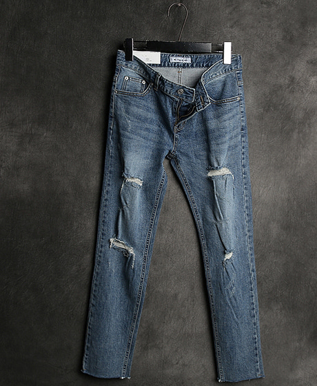 P-6866DAMAGED PATTERN DENIM PANTS데미지 패턴 데님 팬츠Color : 1 colorMaterial : denim