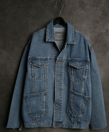 JK-8293MULTIPLEX POKET PATTERN DENIM JACKET멀티플렉스 포켓 패턴 데님 자켓Color : 1 colorMaterial : denim