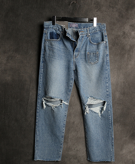 P-7602UNBALACE DAMAGED PANTS언밸런스 데미지 팬츠Color : 1 colorMaterial : denim
