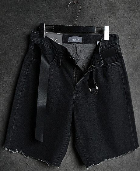 P-7605BELT DENIM HALF PANTS벨트 데님 반바지Color : 1 colorMaterial : denim