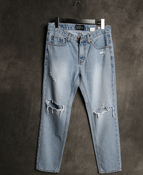 P-7865KNEE DAMAGED CROP DENIM PANTS무릎 데미지 크롭 데님 팬츠Color : 1 colorMaterial : denim