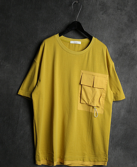 T-13065LAYERED DOUBLE POKET T-SHIRT레이어드 더블 포켓 티셔츠Color : 2 colorMaterial : cotton