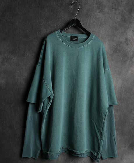T-13077LAYERED PIGMENT OVERSIZED T-SHIRT레이어드 피그먼트 오버사이즈 티셔츠Color : 4 colorMaterial : cotton