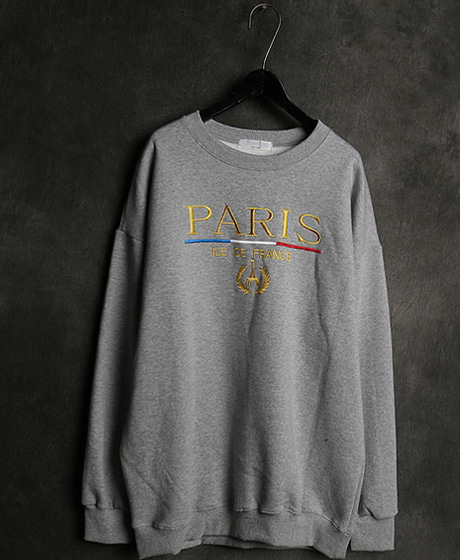T-14012PARIS EMBROIDERY MTMPARIS 자수 맨투맨Color : 2 colorMaterial : cotton