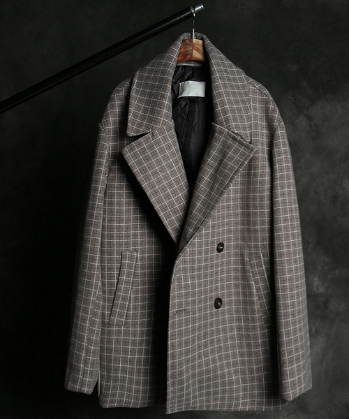 JK-15455wool check pattern double coat